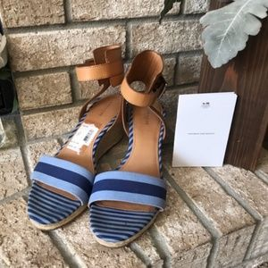 Coach Blue & Tan Seagrass Wedges, Size 10